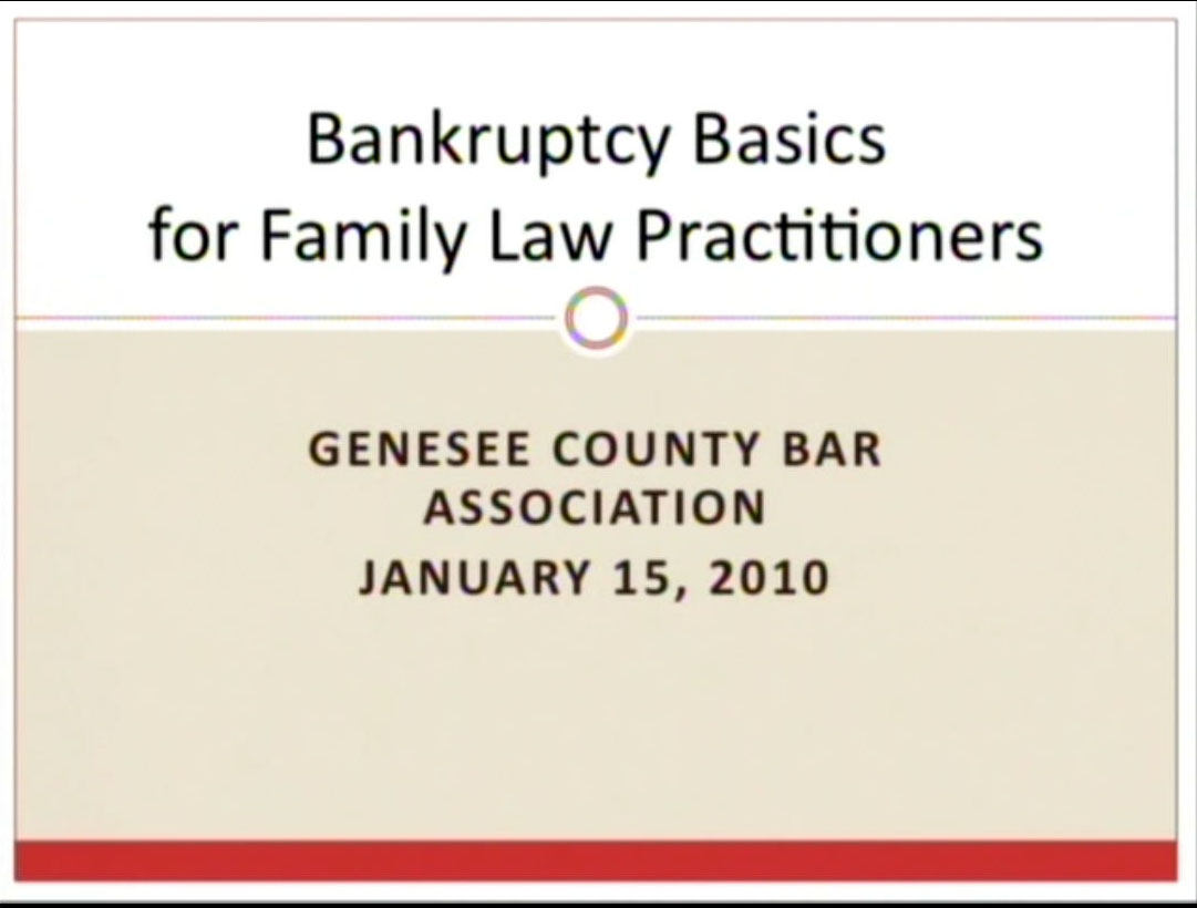 Bankruptcy and Family Law Seminar